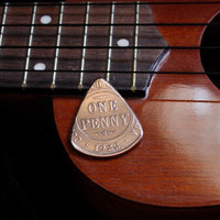 Coin Guitar Pick -- 1922 Australian Copper Penny Plectrum