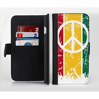 The Red, Yellow & Green Layered Peace Ink-Fuzed Leather Folding Wallet Credit-Card Case for the Apple iPhone 6/6s, 6/6s Plus, 5/5s and 5c