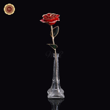 WR Wedding Decor Real 24k Gold Plated Flower Genuine Red Long Stem Rose with Gift Eiffel Stand & Box Home Office Ornaments 29cm