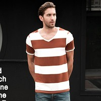 Striped Pattern V-neck Broadcloth Casual Shirts