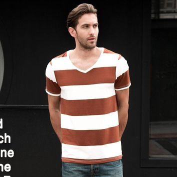 Men Stripe V Neck T-Shirt Fashion Striped T Shirt Male V-Neck T-Shirts Stripes Men Tee Shirts