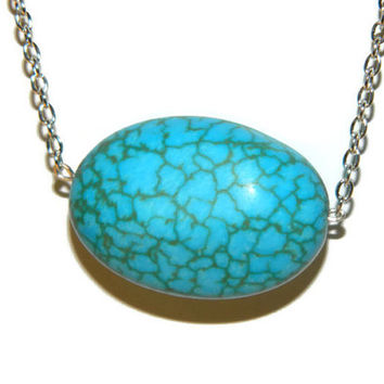 Turquoise howlite stone necklace / Polished large chunky oval necklace on silver tone chain