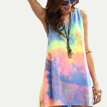 Multicolor Tie-dye V-Neck Sleeveless Knotted Dress/Cover-Up
