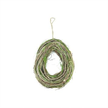 "11"" Brown Grapevine Twig and Green Moss Egg-Shaped Artificial Spring Wreath"