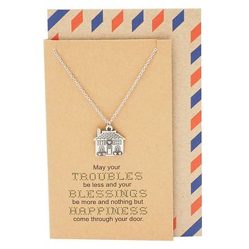 Lorelai Happiness and Blessings Family Necklace with House Pendant for Women, comes with Inspirational Quote