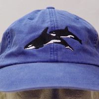 KILLER WHALES HAT - One Embroidered Wildlife Cap - Price Embroidery Apparel - 24 Color Caps Available