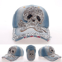 2015 New Fashion Skull Heads Shape Point Drill Baseball Cap Hip Hop Travel Punk Caps (Color: Blue) = 1919627524