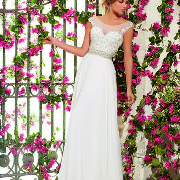 Mori Lee Voyage 6797 Illusion Scoop Neck Lace Sweetheart Bust Open V-Back A-line