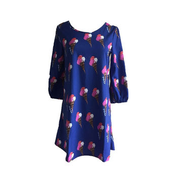 Blue Ice Cream Print Dress