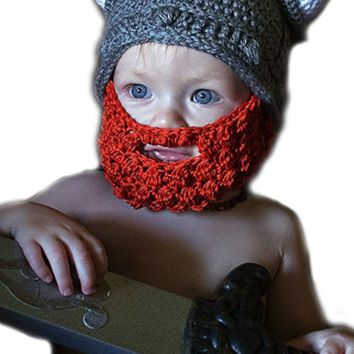 Kids Crochet Viking Hat With Beard and Horns