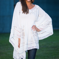 Navajo Crochet Tunic, White