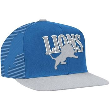 Mitchell & Ness Detroit Lions Throwback Laser Stitch Snapback Hat - Light Blue/Silver