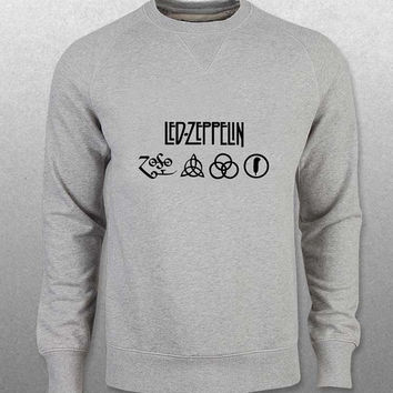 led zeppelin sweater Gray Sweatshirt Crewneck Men or Women Unisex Size with variant colour