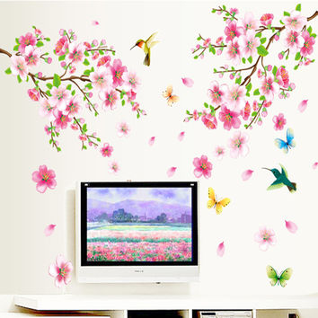 Large ZY9158 Elegant Flower Wall Stickers Graceful Peach Blossom birds Wall Stickers Furnishings Romantic Living Room Decoration SM6