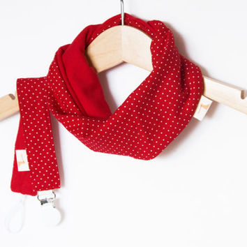 Pacifier clip | infinity scarf baby bib | Dribble bib | Baby shower gift | Red with dots