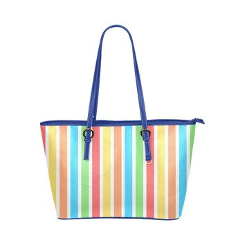 Women's Cool Stripes Large Leather Tote Bag (Blue-Handle)