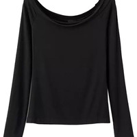Black Off-Shoulder Bodyfit Long Sleeve Top