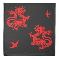 chinese dragons with red sparrows duvet cover