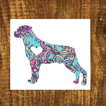 LILLY PULITZER Rottweiler Heart Decal | Rottweiler Mom Decal | Dog Decal | Dog Dad Decal | Dog Family Decal | Love Sticker | Love Decal |204