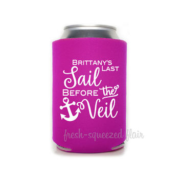 Last Sail before the Veil Koozie/Can Cooler Bachelorette Party gift/favor