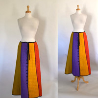 70s Skirt / 70s Boho Skirt / 70s Quilted Skirt / 70s Maxi Skirt / 70s Technicolor Skirt / Festival Clothing / Hippie Skirt