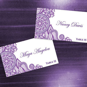 DIY Printable Wedding Place Name Card Template | Editable MS Word file | 3.5 x 2 | Instant Download | Purple Henna Design