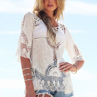 White Crochet Lace Half Sleeve Pullover Top