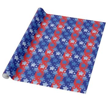Blue White Stars Red Blue Stripes Wrapping Paper