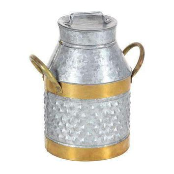 Antique Look Style Gray And Brass Milk Can