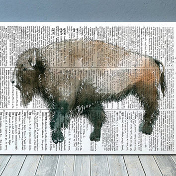 Bison decor Buffalo poster Animal print Dictionary print RTA2045