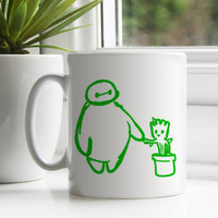 Chibi Baymax and Groot ceramic mug