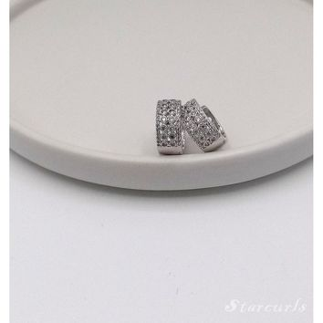 Elegant Pave Huggie Hoop Earrings (E-1811)