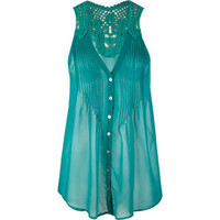 FULL TILT Crochet Back Womens Chiffon Top 192184246 | Blouses & Shirts | Tillys.com