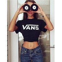 VANS print Cute black T-Shirt for Women