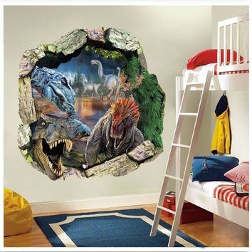 3d dinosaurs through the wall stickers jurassic park home decoration