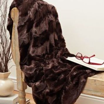 Plush Luxe Chocolate Brown Faux Fur Throw 50