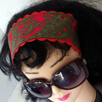 Groovy 70s print headband in red and green paisley fabric design