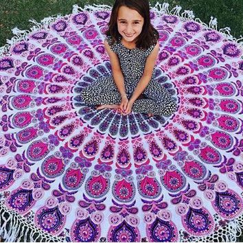 ESBU3C Vintage Printed Round Indian Mandala Tapestry Wall Hanging Art Beach Throw Towel Yoga Mat Blanket Boho Home Decor 150cm Purpe