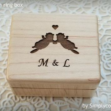 Engagement Ring Box - Proposal Ring Box - Custom Ring Box - Wood Ring Box with love otters engraved and initials on the top, custom ring box