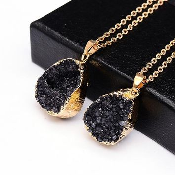 Druzy Natural Stone Geode 18K Gold Plated Necklace