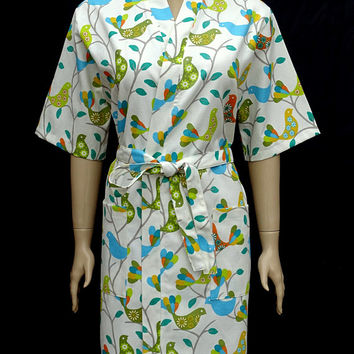 Women's floral and birdy patterned cotton short sleeved light weight kimono bathrobe, dressing gown, bridesmaid robe, bridal robe.