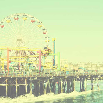 Santa Monica Pier Beach Photography Summer muted colors Waves surfside California Los Angeles Fine Art Print 8x10