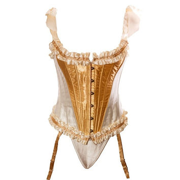 Women Fashion Steel Boned Corset  Ruffle Satin Overbust  Corsets = 1715318340