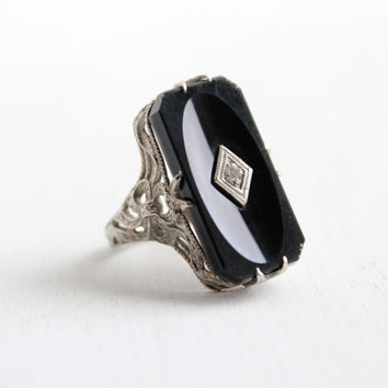Antique 14K White Gold Black Onyx & Diamond Ring - Art Deco Size 3 1/2 Rectangular Faceted Bow Shoulder Jewelry