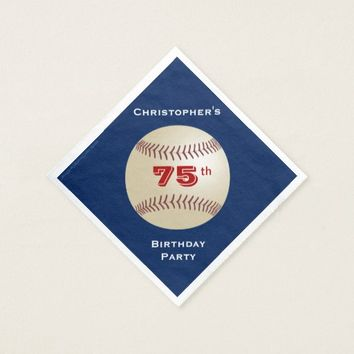 Baseball Paper Napkins, 75th Birthday Party Napkin