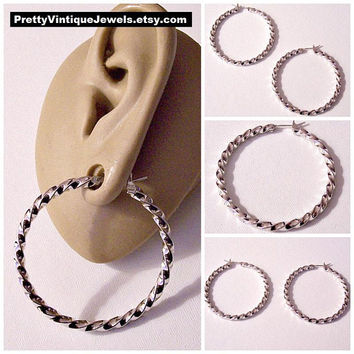 Monet Twisted Band Hoops Pierced Stud Earrings Silver Tone Vintage Polished Surgical Steel Post Large Open Ring Dangles