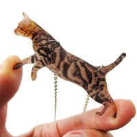 Brown Striped Kitty Cat Jumping in Mid Air Shaped Pendant Necklace | Handmade