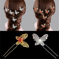 s Butterfly Shaped Hair Pin Bride Rhinestone Wedding Dress Costume Headdress Hairpins White Red Colors SM6