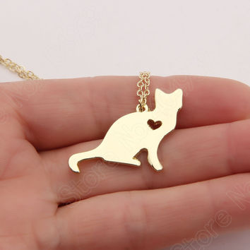 Cat Necklace Kitty Silver Lover Kitten Memorial Gift Christmas Gift Cute Gold Choker Women Charms Necklaces & Pendants Statement