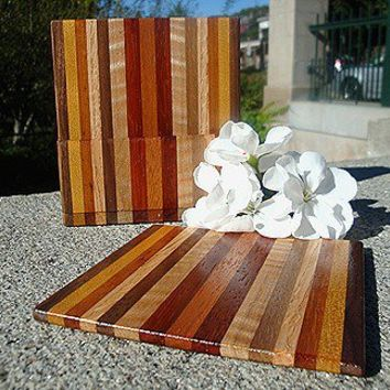 Handmade Exotic Wood Coaster with Caddy Set - Mahogany & Padauk